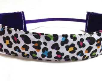 NOODLE HUGGER Non slip ribbon headband - colorful animal print - 7/8 inch (running, working out, everyday: women and girls)