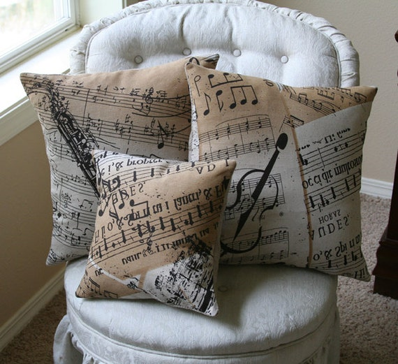 Saxophone Violin Music Room Pillow Covers Music By