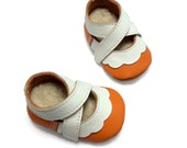 lambswool lined orange and white soft soled leather baby girl shoes.  Booties, crib shoes, pre walker.