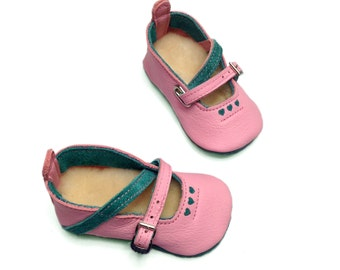 Handmade pink and jade green leather baby shoes.  Soft soled leather infant shoes.  Mary Janes. Booties.  Crib Shoes.