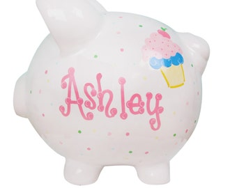 Personalized Cupcake Piggy Bank Hand Painted for Girl's Birthday - Ceramic Coin Bank Pastels PIGG-whi
