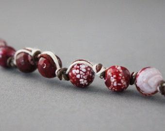purple beaded bracelet agate leather knotted bracelet hemp bracelet silk gemstone bracelet indie bracelet