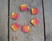 Reclaimed wood magnets  Set of 6 - Hand Painted Orange pink yellow wash