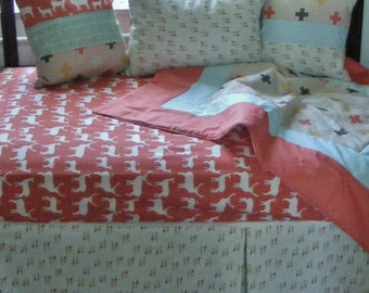 Baby Bedding Crib Quilt and Crib Skirt  Multicolor Woodland Deer Set