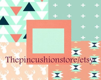 Baby Bedding Crib Bedding  2 or 3 Piece Premium Modern Prints Deer Stag coral mint w/ other options