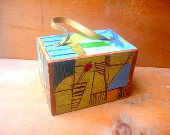 Vintage box purse carved painted carribean