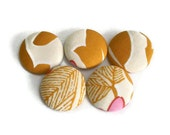 Fabric Covered Buttons Handmade Buttons Pack of 5 Mustard White Pink Leaves