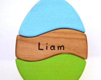 Personalized Easter Egg Stacker - Waldorf Toddler Toy - Choose Your Colors