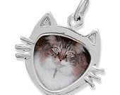 Sterling Silver CAT Face Picture Frame Charm or Pendant