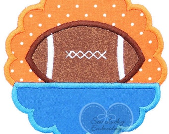 Scallop Football Appliqued Embroidered Patch, Sew or Iron on