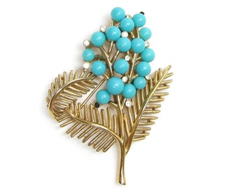Trifari Brooch Turquoise Berries on Gold Tone Branch with Leaves & Rhinestones, Signed Marked