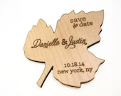 Wood Leaf Shape Save the Date Magnets, Rustic and Modern, Custom Design, Script Fonts