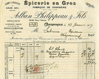 Vintage French Invoice Printable Ephemera January 1917 Receipt Digital Download JPG Image