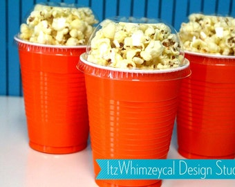 Orange | Party Cup Container | Party Favor Cup | Popcorn Container | Popcorn Cups | Popcorn Favors | Favor Boxes | Movie Night Party