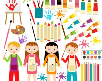 Art Clipart Paint School Artist Craft Instant Download