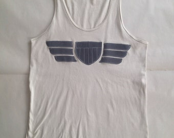 Tank Top, Air Force, Cream and Grey, Small
