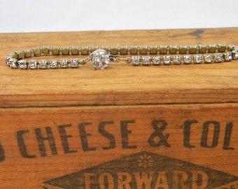 Vintage Rhinestone Tennis Bracelet 1950s Mid Century