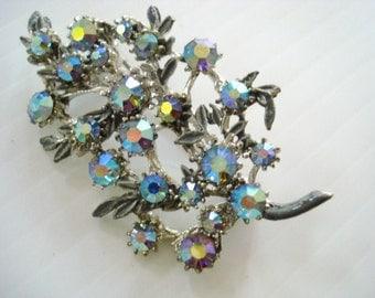 Spectacular  AUSTRIAN CRYSTAL BROOCH - Silver Tone Metalwork - Iridescent Blue Tone Austrian Crystal Rhinestones