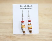 Orange and Gold Boho Earrings Made With Recycled Book Pages, Rustic Earrings, Red Earrings, Book Lover Earrings