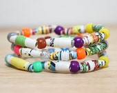 Dr. Seuss Jewelry, Handmade Recycled Paper Bead Bracelet from Fox in Socks, Librarian Gift, Teacher Gift, Rainbow Colored Bracelet