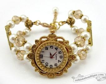 Ivory pearl bracelet watch, wrist watch, ivory watch, gold watch, bridal jewelry, ladies watch, adjustable watch, womens watch, cream watch