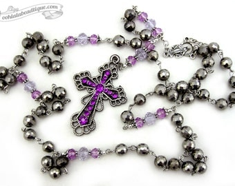Purple Rosary necklace goth rosary gothic necklace catholic rosaries purple cross necklace religious jewelry goth gift crystal rosary