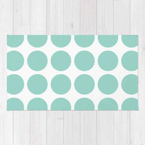 30 Colours Aqua And White Polka Dot Area Rug 2x3 By