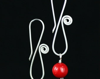 Sterling silver red coral infinity scroll earrings   Free US Shipping handmade anni designs