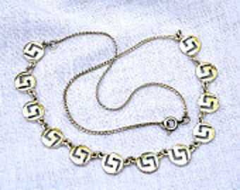 vintage sterling silver greek key design necklace
