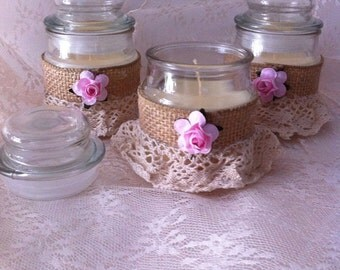Rustic Candle Wedding Favors,wedding table decoration ,baptism candles / baptism table decoration / baptism favors / wedding favors