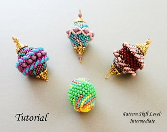 FOUR BEADED BEADS beading tutorial beadweaving pattern seed bead beadwork jewelry beadweaving tutorials beading pattern instructions