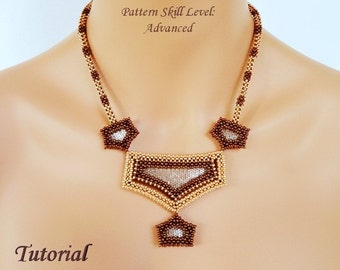 LOOKING GLASS beaded necklace beading tutorials and patterns seed bead beadwork jewelry beadweaving tutorials beading pattern instructions