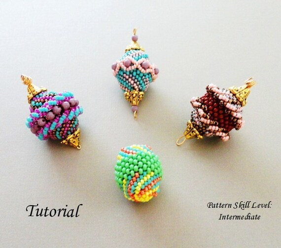 FOUR BEADED BEADS beading tutorial beadweaving pattern seed bead beadwork jewelry beadweaving tutorials beading pattern instructions