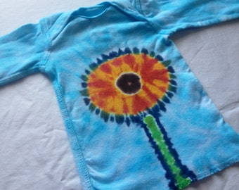 Newborn Sun Flower Tie Dye Long Sleeve Lap Tee Shirt