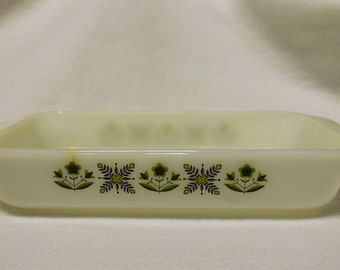 Fire King Anchor Hocking baking dish with green floral design