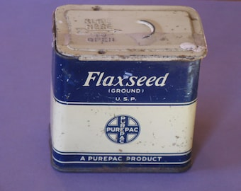Vintage Tin Flaxseed Purepac  Tin Blue and Cream Kitchen Collectible
