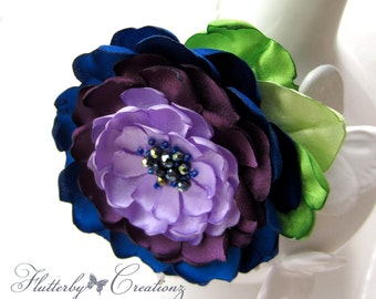 Royal Blue, Plum & Lavender Burnt (Heat Singed) Satin Petal Rosette Flower Clip/Pin Combo - Wedding, Bridesmaid, Bride, Formal, Flower Girl