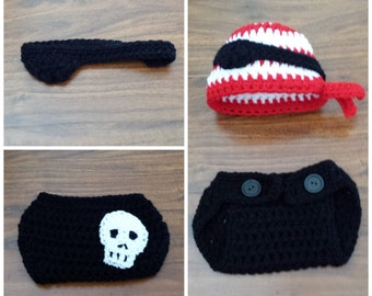 Crochet Pirate outfit (beanie/hat, an eyepatch and a diaper cover with a skull on it)