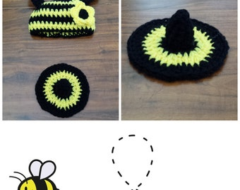 Crochet Bumble Bee Photo Prop (beanie/hat and a bottom cover)