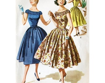 1950s Style Shirred Ruffle Off the Shoulder Bodice with Full Gathered Skirt Dress Custom Made in Your Size From a Vintage Pattern