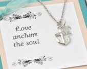 Anchor Necklace w/giftbox - Sterling Silver Anchor -  Anchor Pendant - Nautical - Anchor Necklace Initial Charm - Personalized Wedding Gift