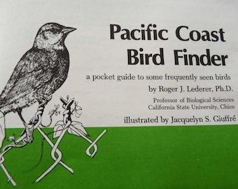 Pacific Coast Bird Finder, Pocket Guide, 61 Bird Illustrations, 1977 Nature Study Guild