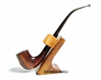 "Fashion Set ""Lord of The Rings""  Long Tobacco Smoking Pipe of Pear Wood Pipe 9.8'' Churchwarden Fashion Style & Stand"