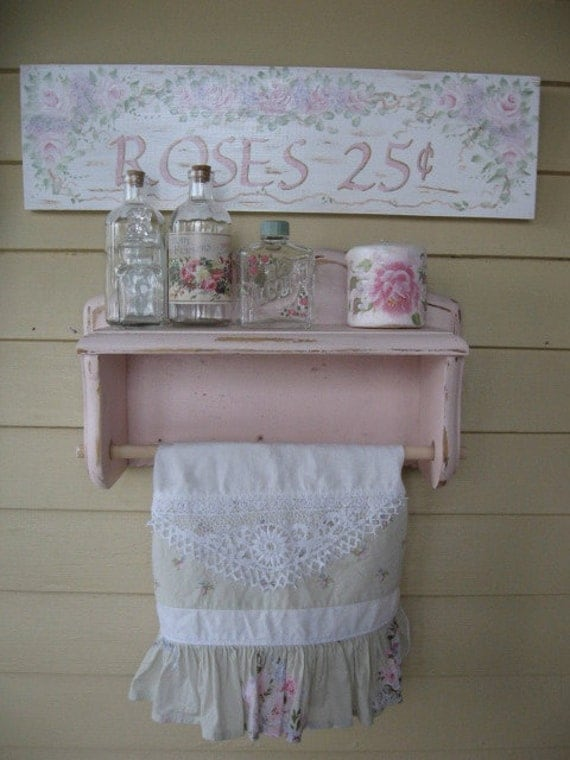 shabby chic pink paper towel holder vintage towel paper
