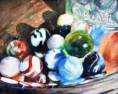 Watercolor ORIGINAL Shiny Things One  marbles mason jar glass silver platter watercolour