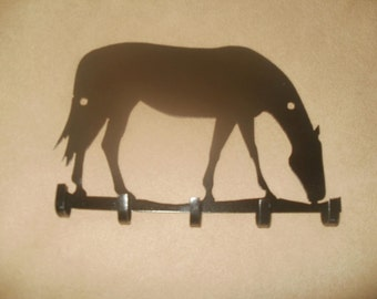 Black Metal Quarter Horse 5 Hook Key Holder Wall Organizer
