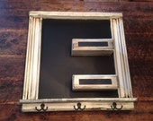 Square Chalkboard Framed Shabby Chic with Chalk Ledge and Key Hooks