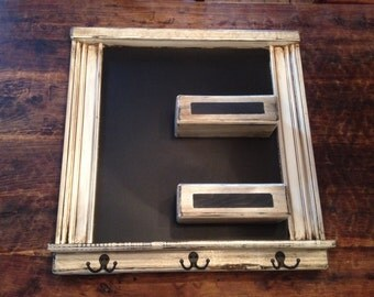 Square chalkboard Framed mail organizer Shabby chic Chalk ledge Key hooks