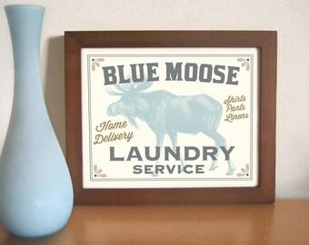 Laundry Room Decor Cabin Decor Moose Art Laundry Sign Rustic Cottage Outdoorsman Mud Room