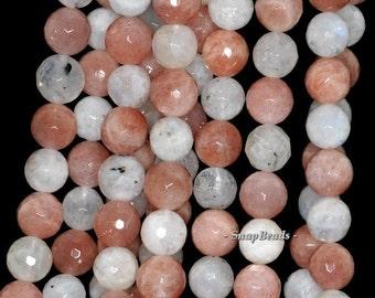 10mm Rainbow Orange Moonstone Gemstone Faceted Round 10mm Loose Beads 16 inch Full Strand (90147131-248)